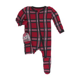 KicKee Pants KicKee Pants Footie with Zipper - Christmas Plaid
