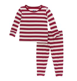 KicKee Pants KicKee Pants Long Sleeve PJ Set - Candy Cane Stripe