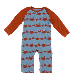 KicKee Pants KicKee Pants Long Sleeve Raglan Romper - Blue Moon Crab Family