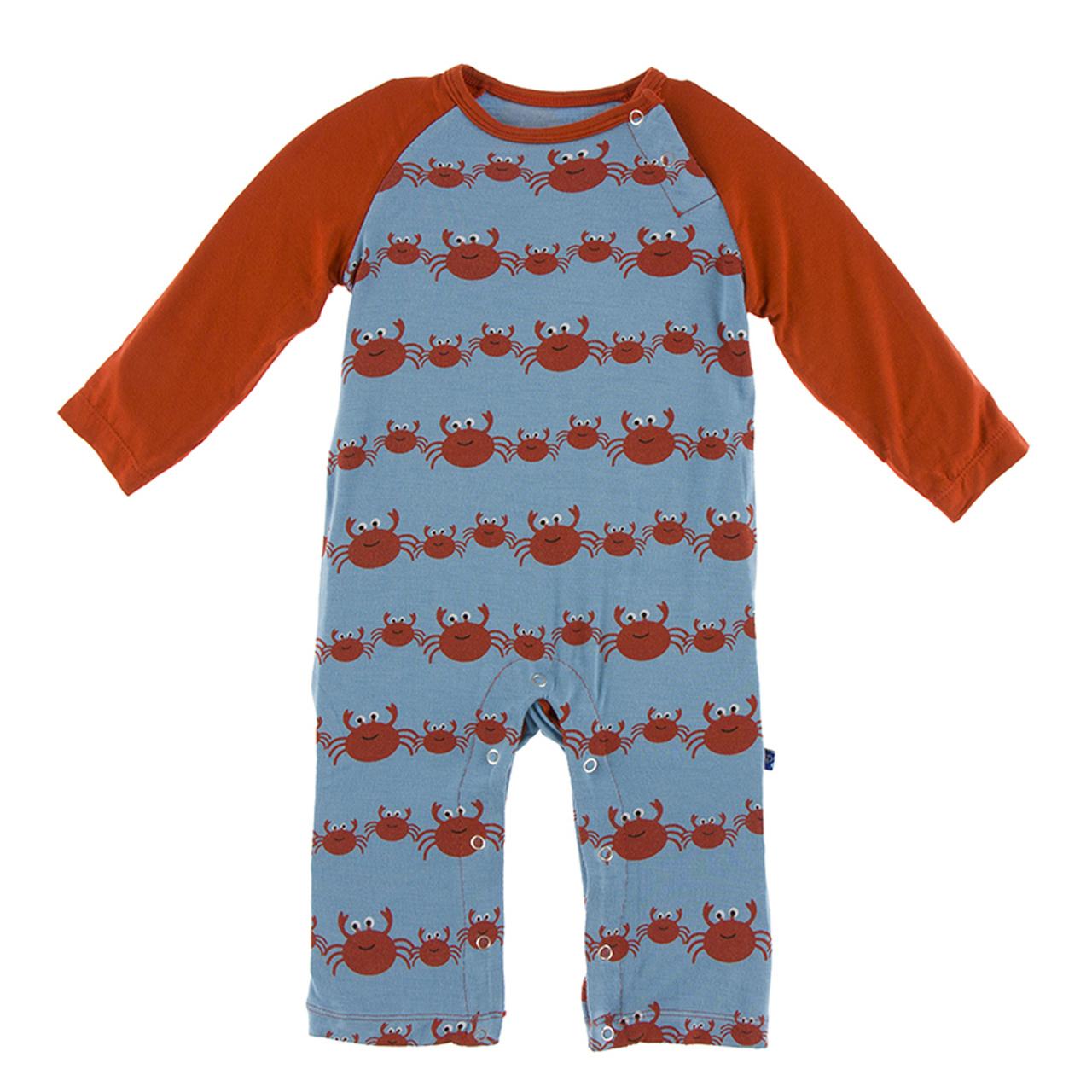 KicKee Pants KicKee Pants Long Sleeve Raglan Romper - Blue Moon Crab Family