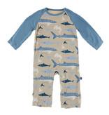 KicKee Pants KicKee Pants Long Sleeve Raglan Romper - Burlap Sharks