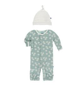 KicKee Pants KicKee Pants Converter Gown & Knot Hat Set - Jade Sand Dollar