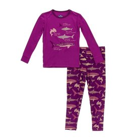 KicKee Pants KicKee Pants Long Sleeve PJ Set - Melody Sharks