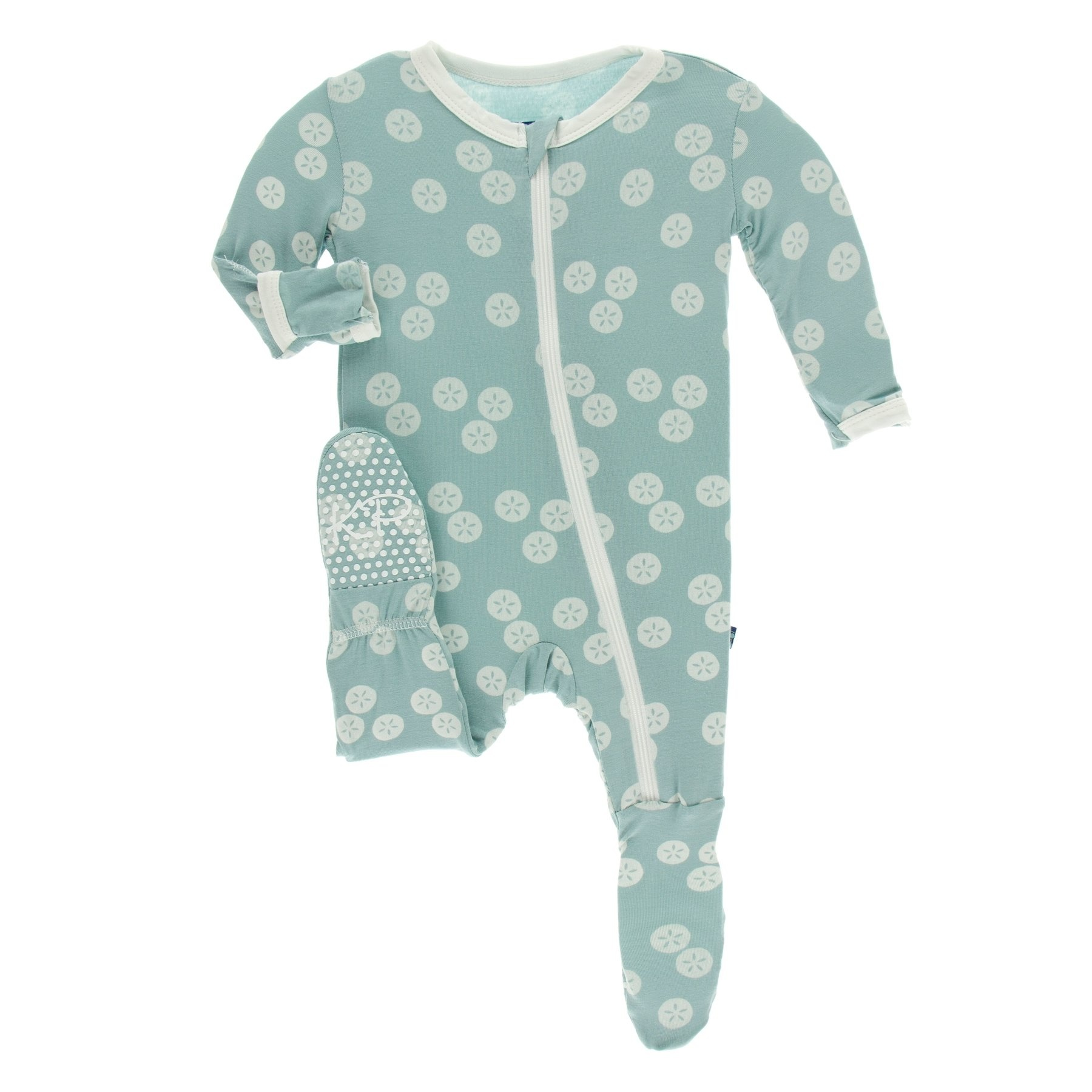 KicKee Pants KicKee Pants Footie with Zipper - Jade Sand Dollar