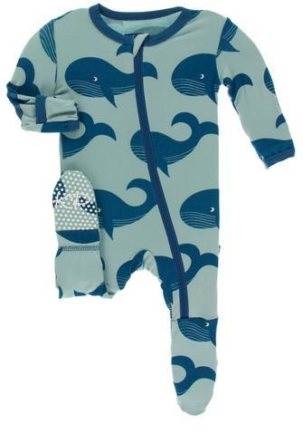 KicKee Pants KicKee Pants Footie with Zipper - Jade Whales