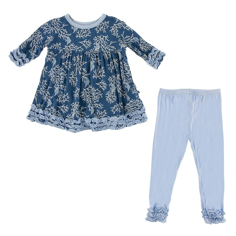 KicKee Pants KicKee Pants Long Sleeve Babydoll Outfit Set - Twilight Coral Fans