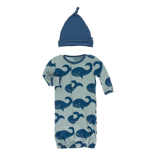 KicKee Pants KicKee Pants Converter Gown & Knot Hat Set - Jade Whales