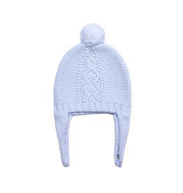 Angel Dear Cable Knit Pilot Hat - Pale Blue