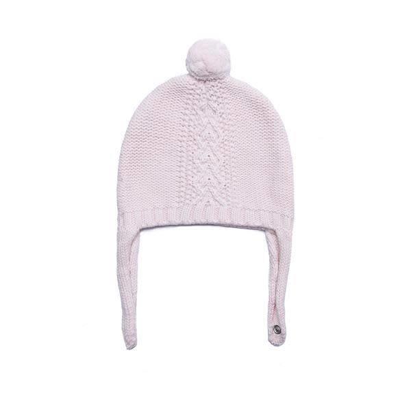 Angel Dear Cable Knit Pilot Hat - Pale Pink