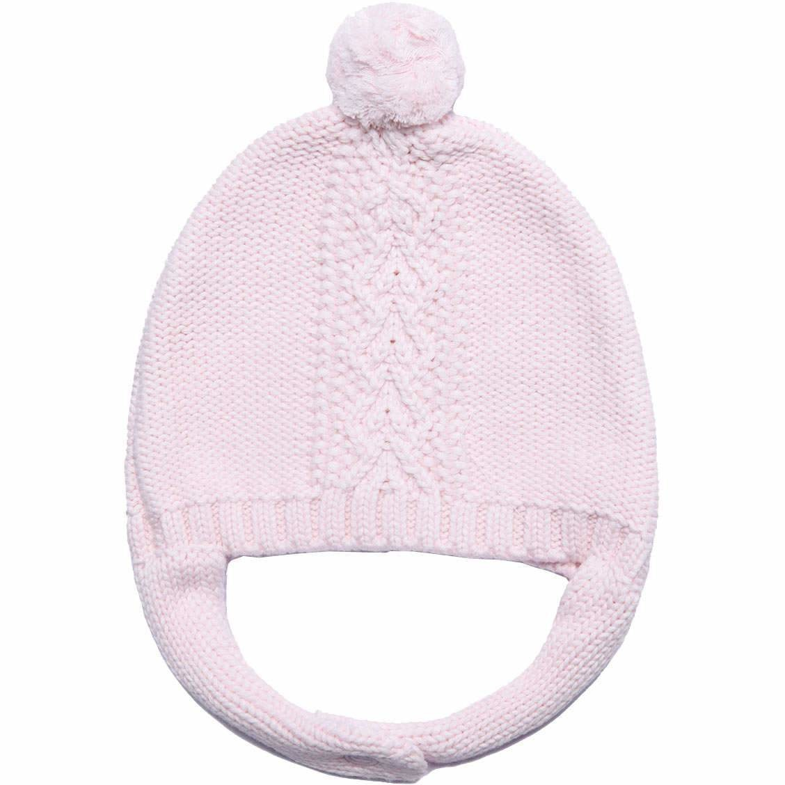 Angel Dear Cable Knit Pilot Hat - Pale Pink