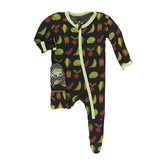 KicKee Pants KicKee Pants Bamboo Footie with Zipper - Zebra Garden Veggies