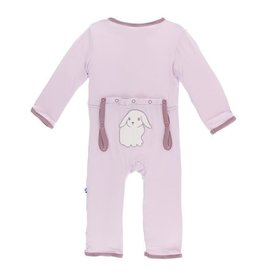KicKee Pants KicKee Pants Bamboo Layette Applique Coverall - Thistle Lop Eared Bunny