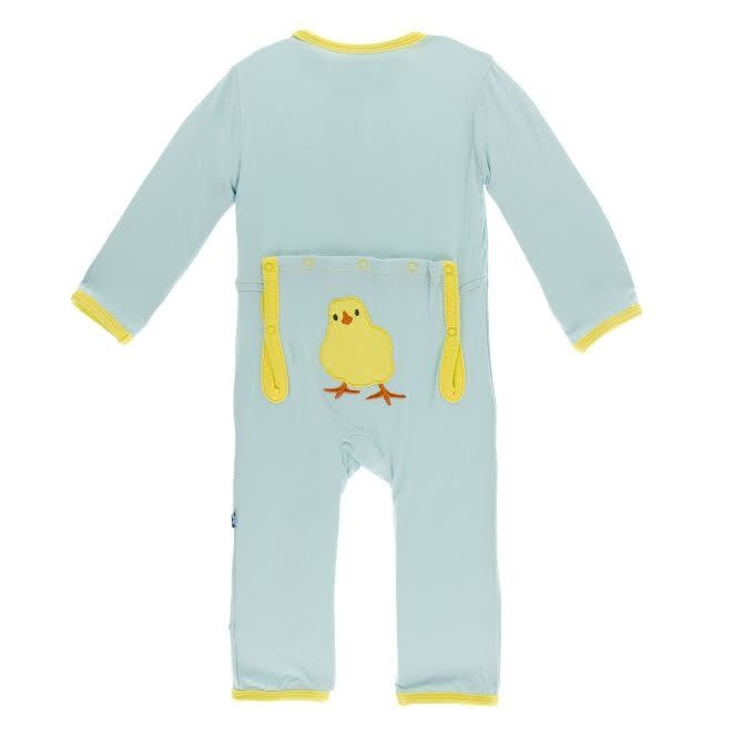KicKee Pants KicKee Pants Bamboo Layette Applique Coverall - Spring Sky Fuzzy Chick