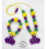 Maison Nola Mardi Gras Silicone Teether Necklace