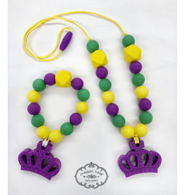 Maison Nola Mardi Gras Silicone Teether Necklace
