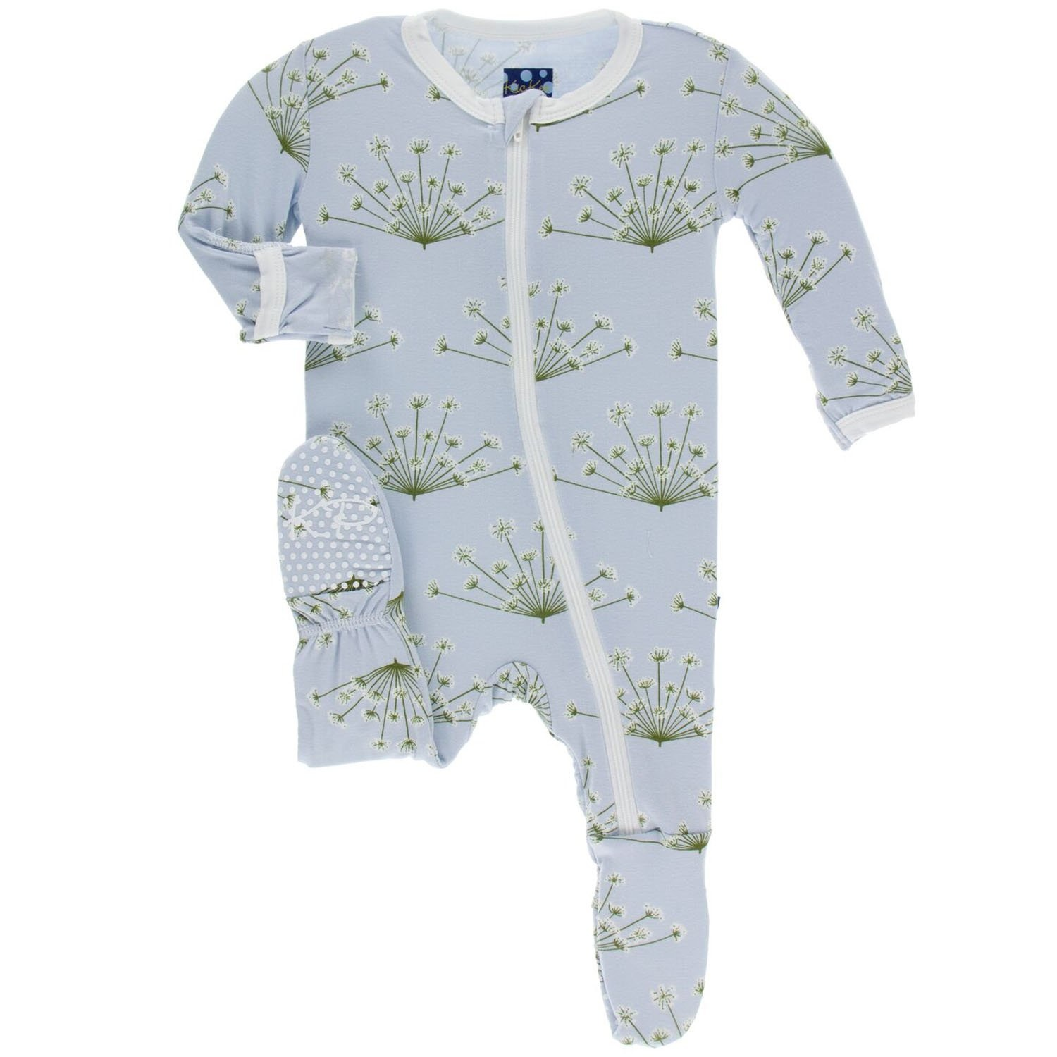 KicKee Pants KicKee Pants Bamboo Footie with Zipper - Dew Dill