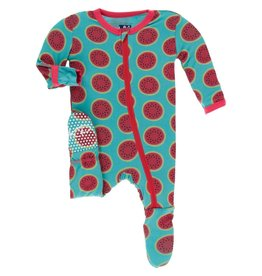 KicKee Pants KicKee Pants Bamboo Footie with Zipper - Neptune Watermelon