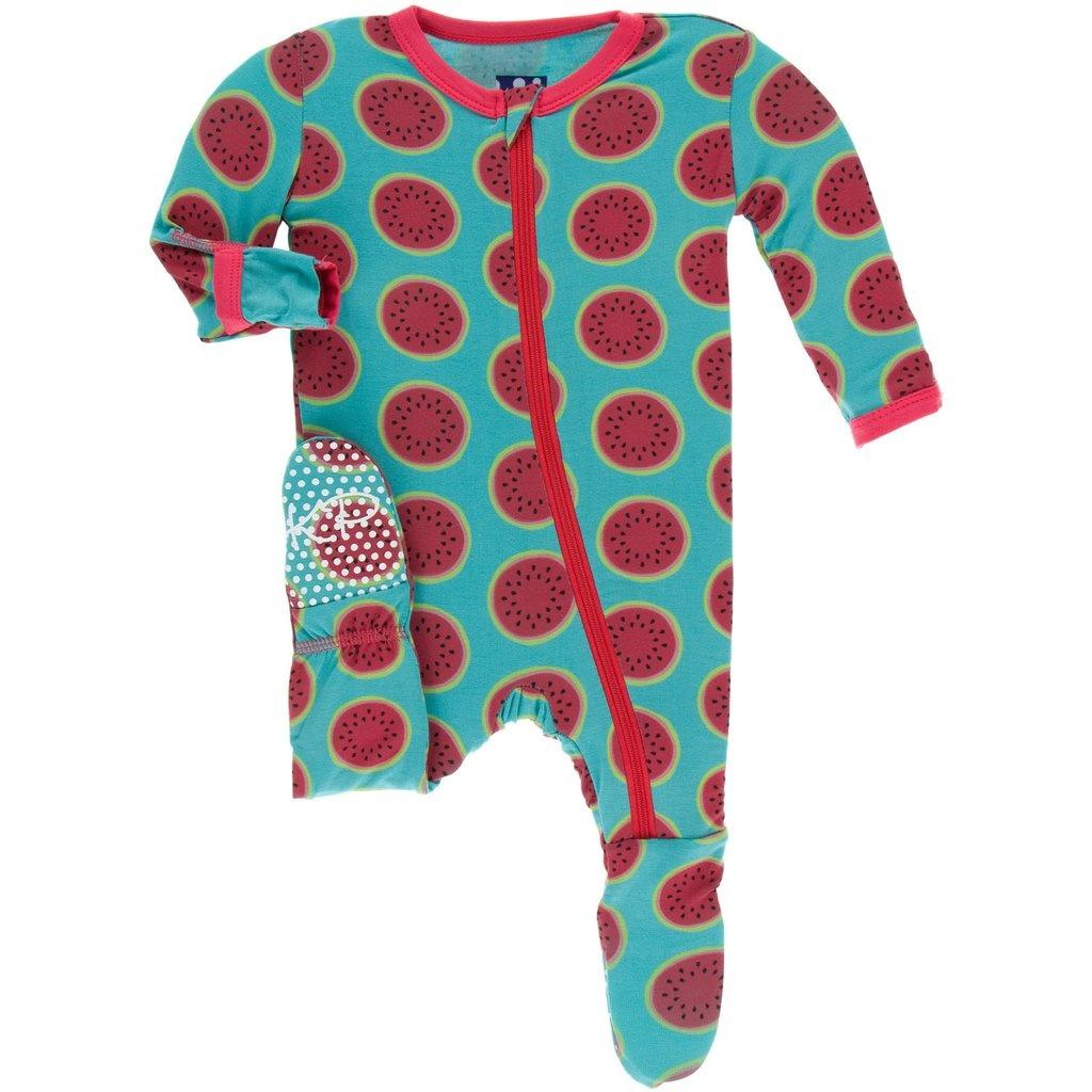 KicKee Pants KicKee Pants Bamboo Footie with Zipper - Neptune Watermelon