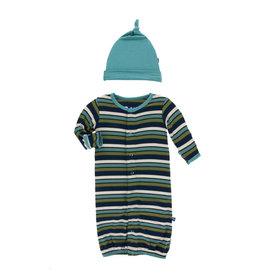 KicKee Pants KicKee Pants Bamboo Gown Converter & Knot Hat Set - Botany Grasshopper Stripe