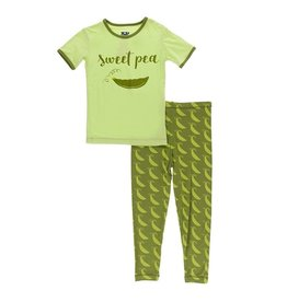 KicKee Pants KicKee Pants Short Sleeve PJ Set - Grasshopper Sweet Peas 4T