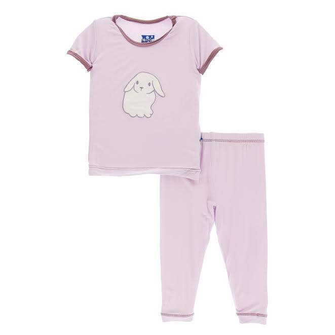 KicKee Pants KicKee Pants Short Sleeve Bamboo Applique PJ Set - Thistle Lop Eared Bunny