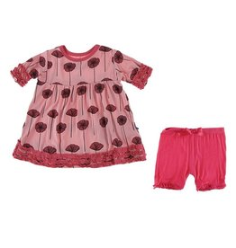 KicKee Pants KicKee Pants Short Sleeve Bamboo Babydoll Outfit Set - Strawberry Poppies  6-12 m