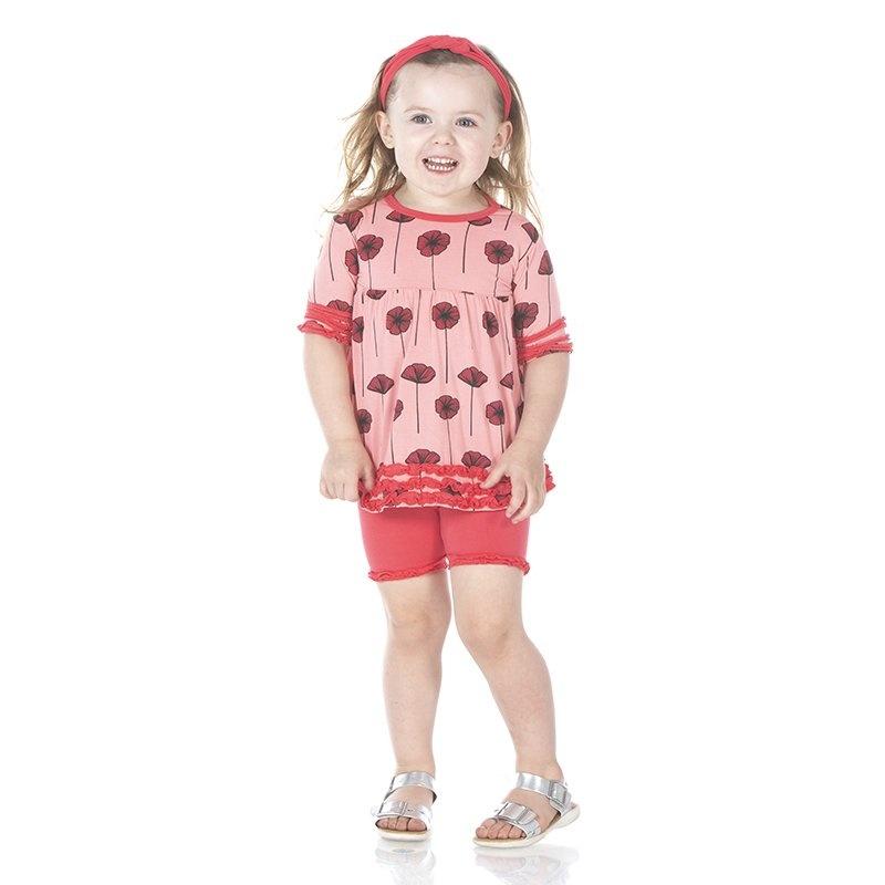 KicKee Pants KicKee Pants Short Sleeve Bamboo Babydoll Outfit Set - Strawberry Poppies 6-12 m