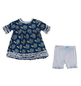KicKee Pants KicKee Pants Short Sleeve Bamboo Babydoll Outfit Set - Navy Cornflower & Bee