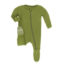 KicKee Pants KicKee Pants Bamboo Footie with Zipper - Grasshopper