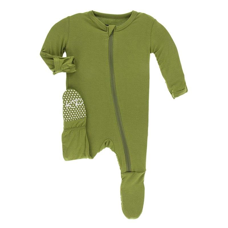 KicKee Pants KicKee Pants Bamboo Footie with Zipper - Grasshopper