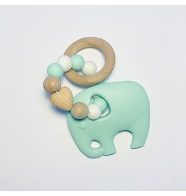 Sugar + Maple Sugar + Maple Silicone Beechwood Teether - Elephant