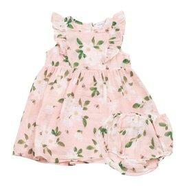 Angel Dear Ruffle Muslin Dress + Bloomer Set - Pink Magnolias
