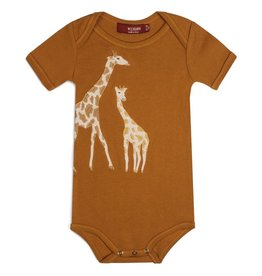 Milkbarn Organic Applique One Piece - Orange Giraffe