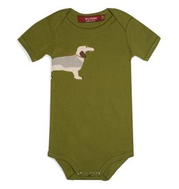 Milkbarn Organic Applique One Piece - Green Dog