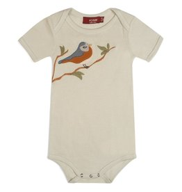 Milkbarn Organic Applique One Piece - Blue Bird