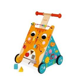 Janod Toys Multi-Activities Wooden Cat Baby Walker