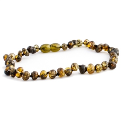 The Amber Monkey The Amber Monkey Baltic Amber 12-13 inch Necklace - Olive (Polished/Pop Clasp)