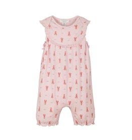 Feather Baby Yoke Romper - Crawfish on Soft Pink