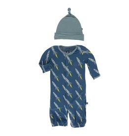 KicKee Pants KicKee Pants Print Gown Converter & Knot Hat Set - Twilight Rockets
