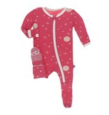 KicKee Pants KicKee Pants Zipper Footie - Red Ginger Full Moon