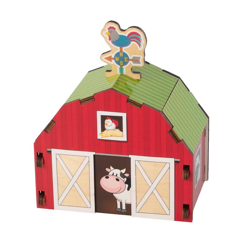 Fat Brain Toys Build It Blueprint Puzzle - Barn