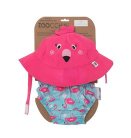 Zoochini Baby Swim Diaper & Sun Hat Set UPF50 - Flamingo