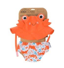 Zoochini Baby Swim Diaper & Sun Hat Set UPF50 - Crab