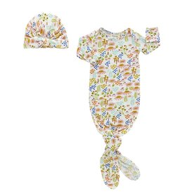 Emerson and Friends Floral Gown and Hat Set - Bamboo