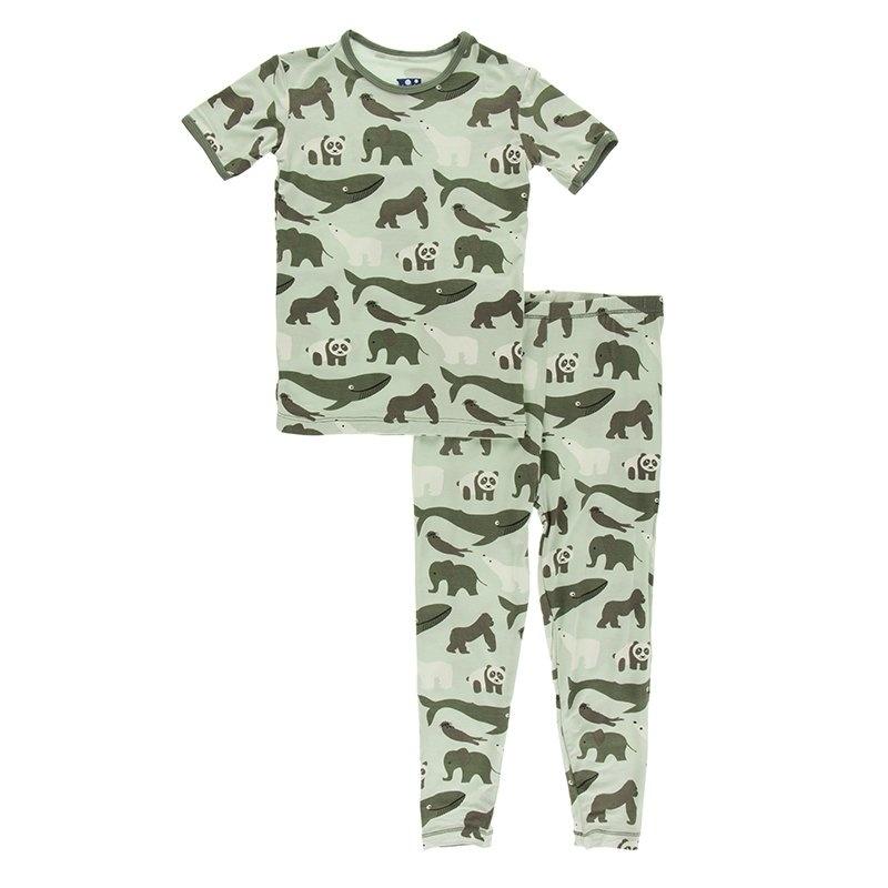 KicKee Pants KicKee Pants Short Sleeve PJ Set - Aloe Endangered Animals