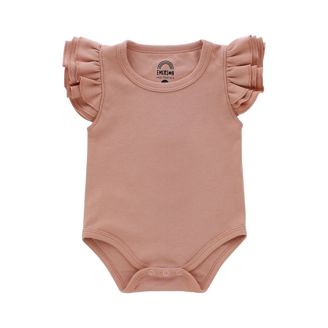 Emerson and Friends Flutter Sleeve Onesie - Dusty Rose