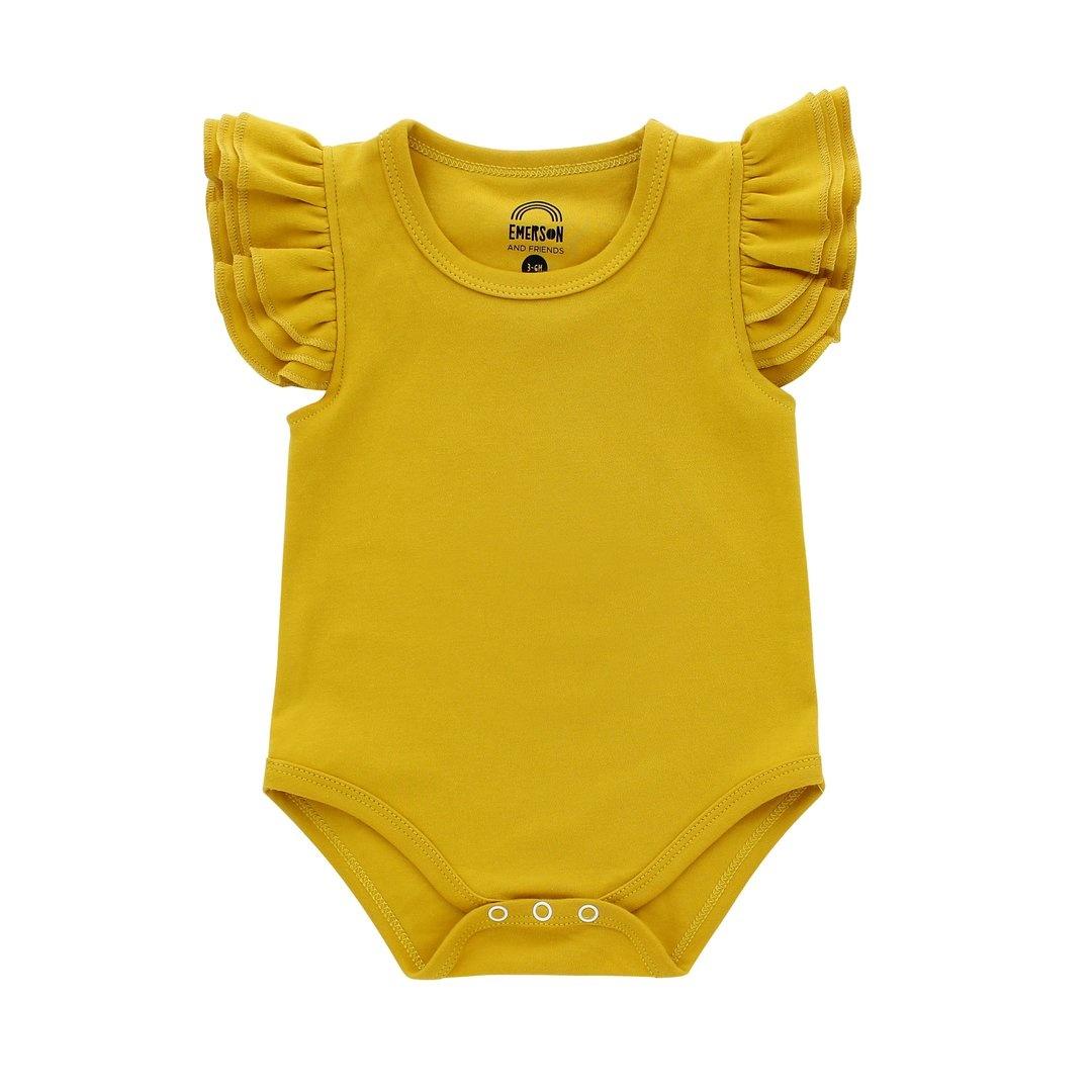Emerson and Friends Flutter Sleeve Onesie - Mustard Yellow