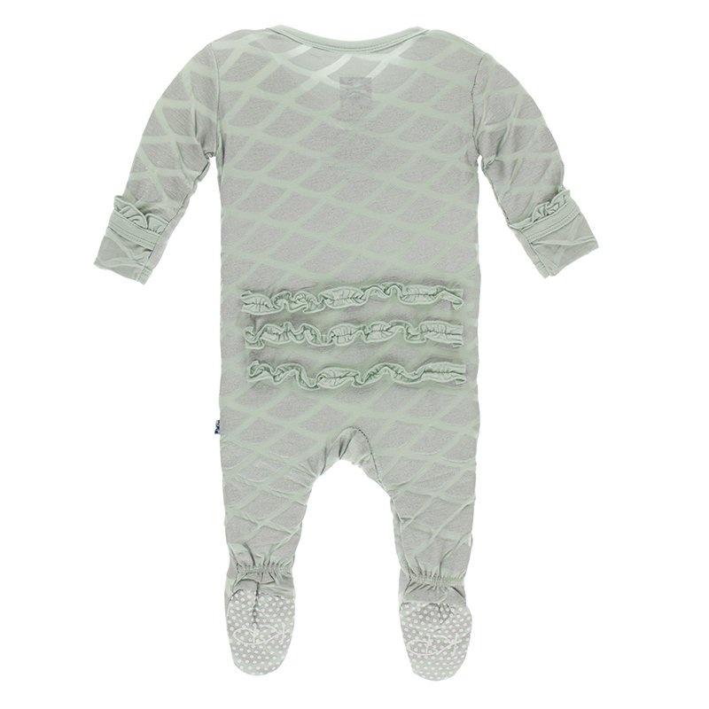 KicKee Pants KicKee Pants Zipper Ruffle Footie - Iridescent Mermaid Scales