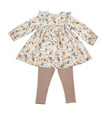 Angel Dear Autumn Owls Ruffle Dress And Legging Set