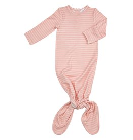 Angel Dear Pink Stripe Hippo Knotted Gown 0-3M